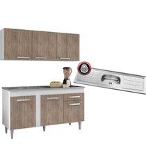 armário aéreo parma e balcão gabinete pia inox montreal 150cm branco/castanho - lumil móveis