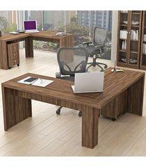 mesa para escritório angular nogal me4116  - tecno mobili