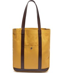 'open' leather trim canvas tote