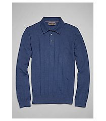 reserve collection cotton & silk long sleeve men's polo sweater - big & tall