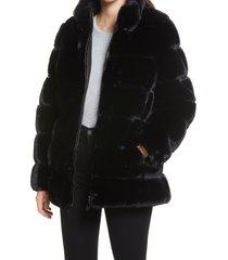 women's via spiga faux fur stand collar coat, size large - black