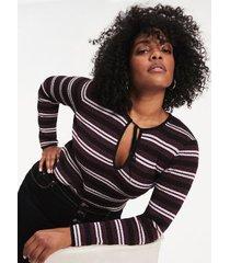 tommy hilfiger women's zendaya curve metallic knit stripe sweater grape wine - 22