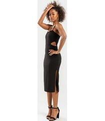 ariya cut out midi dress - black