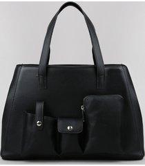 bolsa de ombro feminina grande com bolsos e alça transversal removível preta