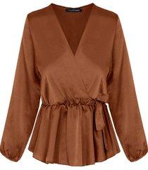 satijnen overslag blouse camel