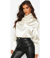 satin high neck oversized blouse, champagne