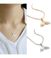 2 pack - new beauty women mermaid tail pendant choker necklace - gold silver
