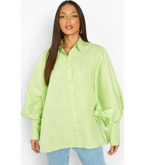 tall oversized blouse met vleermuismouwen en ballonmouwen, lime