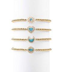 luxe roxanne opal & crystal stretch beaded bracelet