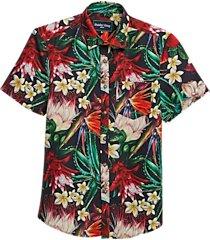 paisley & gray slim fit short sleeve swim shirt red and green bird of paradise