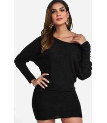 black one shoulder dolman sleeve knitted dress