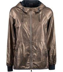 brunello cucinelli metallic zip hooded jacket