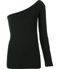 romeo gigli pre-owned single sleeve fitted blouse - black