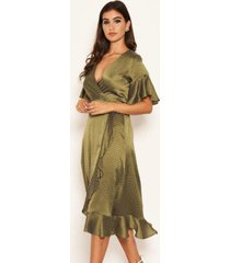 ax paris women's polka dot wrap frill midi swing dress