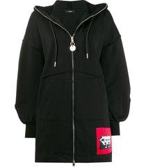 diesel dropped shoulders zipped hoodie - black