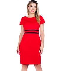 vestido con corte rojo negro bellisima