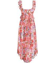 poppy frill edge midi dress in coral multi floral