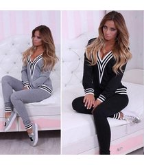 women lady sweatshirt tops pants casual sportsuit tracksuit set 2pcs outfit wd80