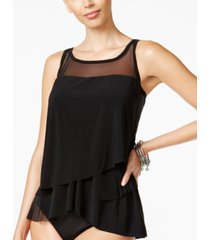 miraclesuit illusionists mirage tiered tankini top women's swimsuit