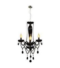 lustre pendente baronesa avant 3xe14 cromado preto