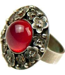 srebrny pierścionek z czerwonym agatem