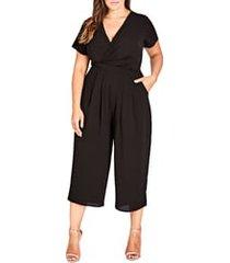 plus size women's city chic asplice jumpsuit, size medium - black