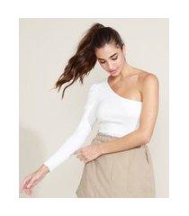 blusa feminina canelada um ombro só manga bufante off white
