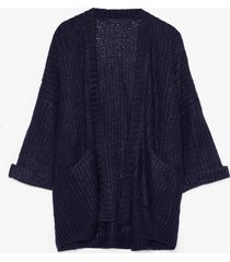 womens knit on my watch plus oversized cardigan - navy