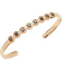 round bezel 18k rose gold & black diamond cuff bracelet