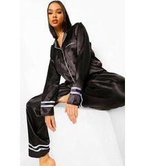 satijnen pyjama set met broek en gestreepte zoom, black