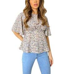 ax paris abstract print flared blouse