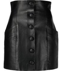 balmain decorative button detail mini skirt - black