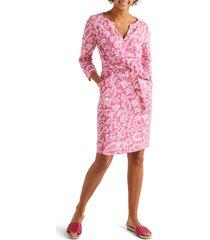 women's boden kelsey linen tunic dress, size 8 - pink