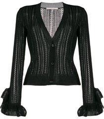 marco de vincenzo sheer ruffled-cuffs cardigan - black