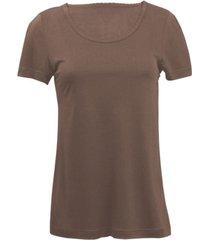 zijden-shirt met korte mouwen uit organic silk, taupe 36