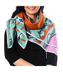 cotton batik scarf, 'springtime garden' (thailand)