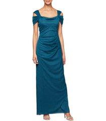 petite women's alex evenings cold shoulder ruffle glitter gown, size 4p - blue/green