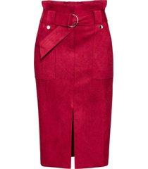 gonna longuette con cintura (rosso) - bodyflirt
