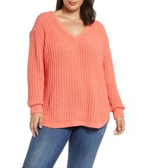 plus size women's caslon chenille v-neck sweater