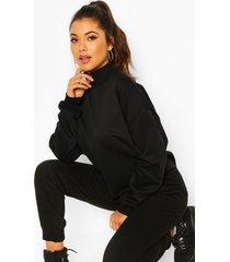fleece high neck sweatshirt, black