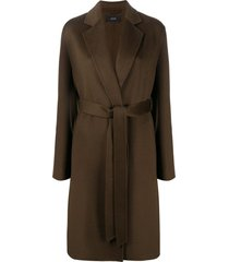 joseph belted mid-length coat - green