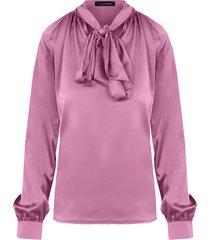 zijden blouse met strik oud roze