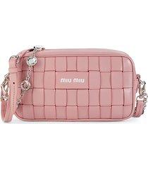 miu miu women's intreccio crystal shoulder bag - rosa