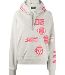 dsquared2 relaxed-fit logo-print hoodie - grey