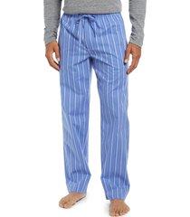 men's nordstrom men's shop poplin pajama pants, size medium - blue