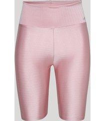 bermuda feminina esportiva ace com textura cintura alta rosa