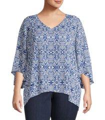 karen kane women's plus printed blouse - duchess rose - size 0x (10-12)