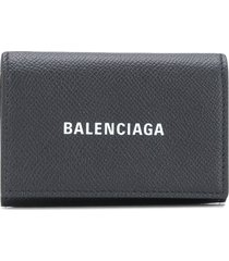 balenciaga logo-print card case - black
