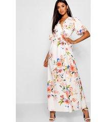 bloemenprint maxi jurk met kapmouwen en geplooide taille, wit
