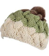 cappello berretto in lana a maglia piatta regolabile con berretto di pelliccia di coniglio